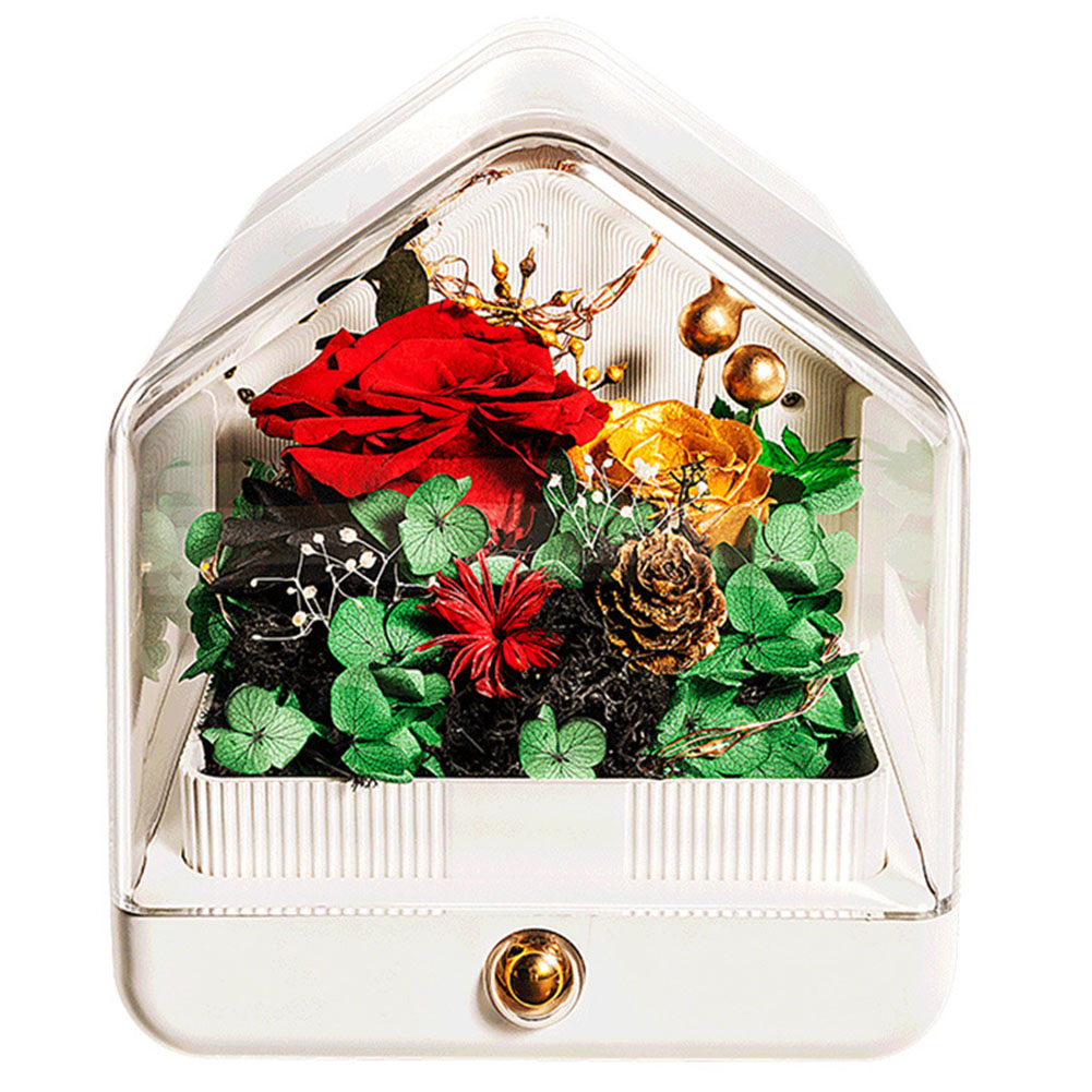 Romantic Preserved Flower Bluetooth Speaker Lamp LED Night Lamp Microlandscape Bluetooth Speaker Valentines Gift (red flower) flower moon