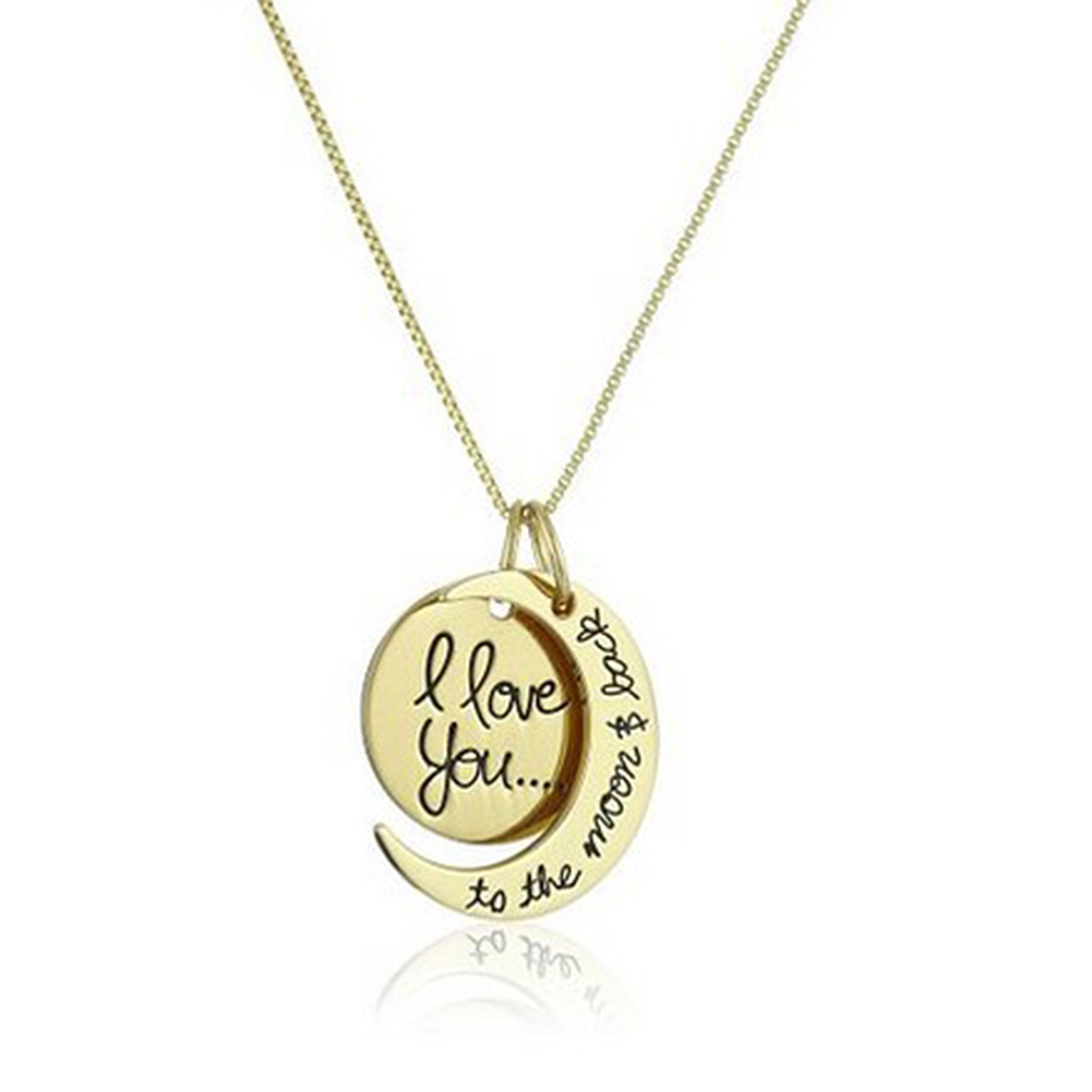 Creative Moon and Sun Shape with I LOVE YOU Letter Pendant Necklace Fashion Elegant Couple Necklace