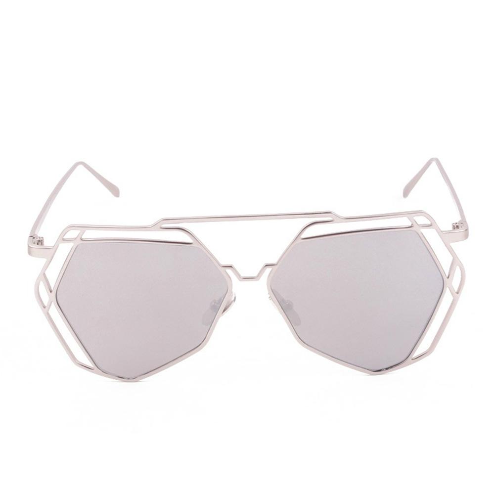 Women Big Mirror Hexagon UV400 Hollow Out Sun Glasses