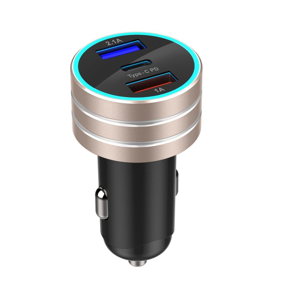 3.1A Dual USB Vehicle Charger TYPE-C Charge Interface Fast Car Charger Gold