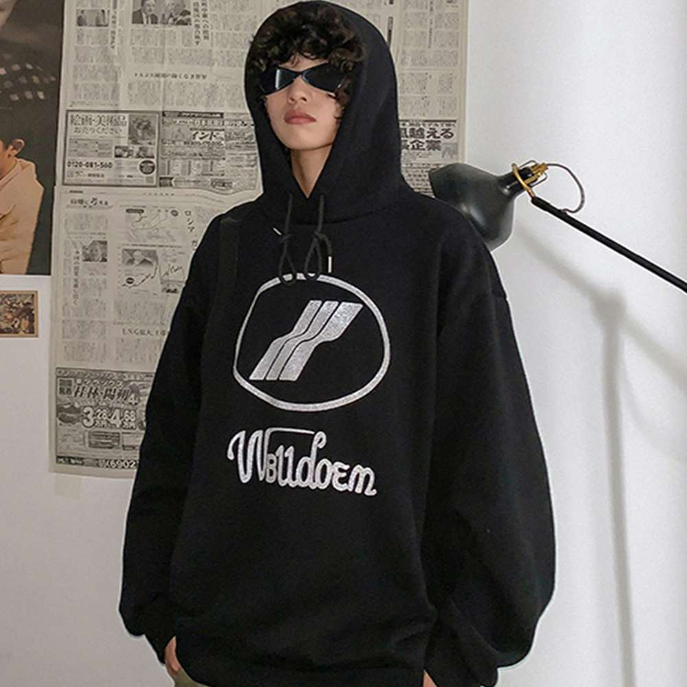 Couples Long-sleeved Hoodies Fashion Fleece retro printing pattern Loose Hooded Long Sleeve Top Black_XXL