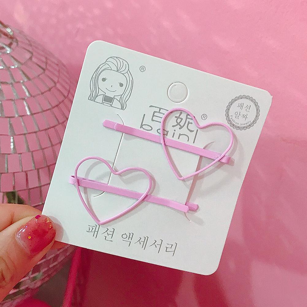 2 Pcs Korean Style Cute Women Grils Heart-shaped Pentagram Shaped Hair Clip Hair Decoration 7#