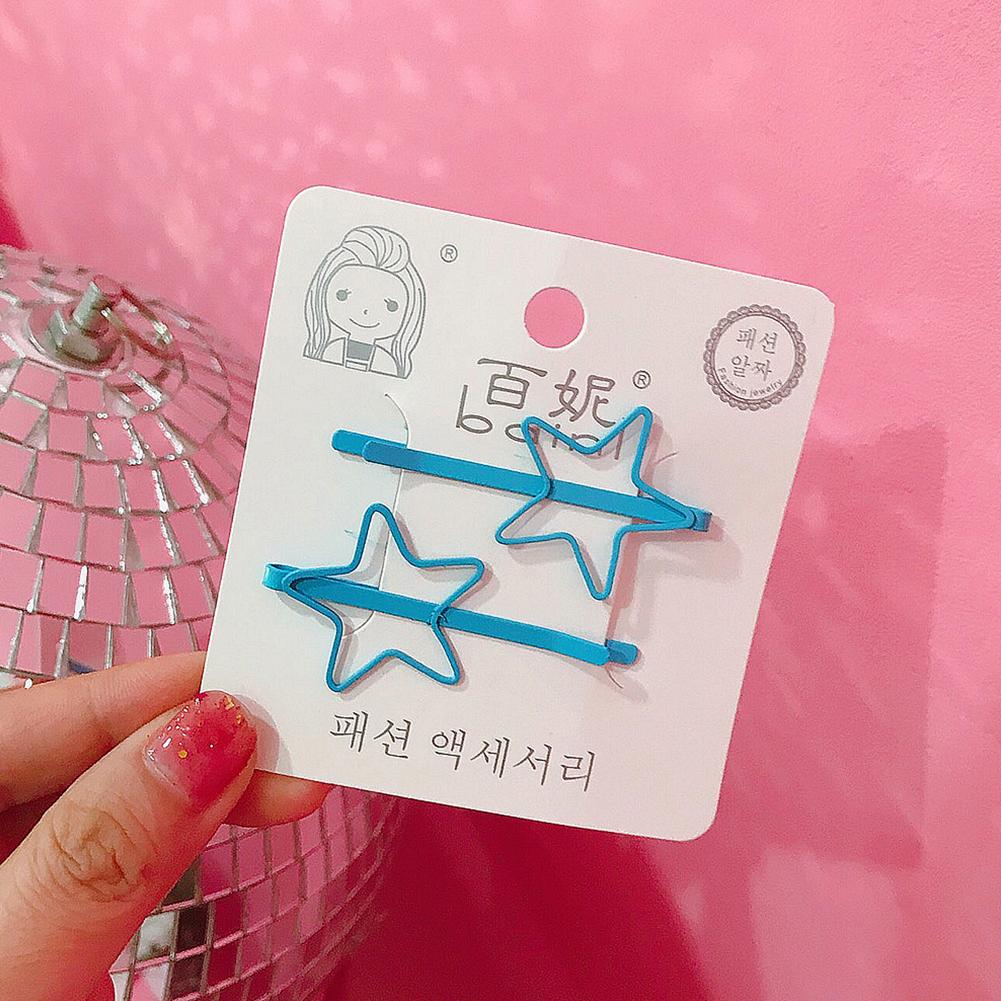 2 Pcs Korean Style Cute Women Grils Heart-shaped Pentagram Shaped Hair Clip Hair Decoration 8#