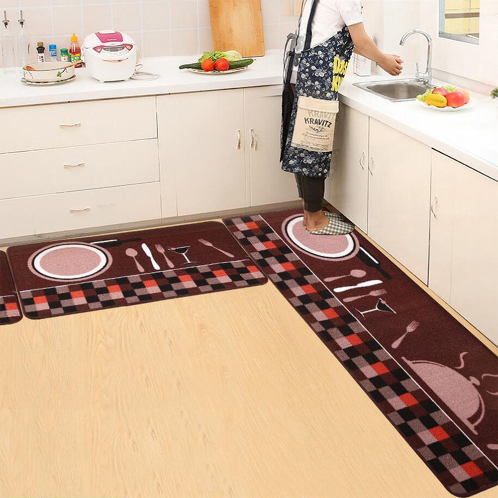 Floor Mat Simple Printing Kitchen Carpet House Doormat Anti-Slip Absorbent Rug for Kitchen Living Room  Plate fork brown bottom_50X80cm