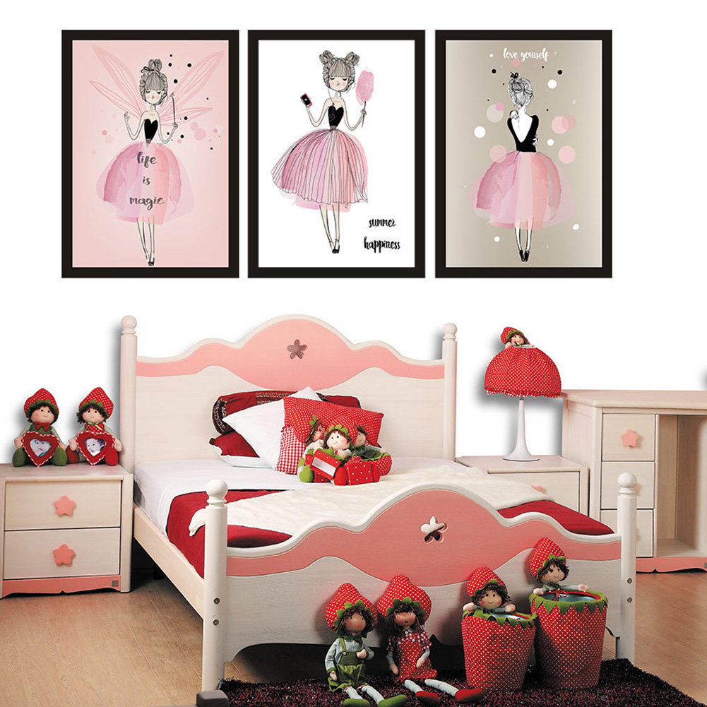1PC/3PCS Lovely Girl Watercolour Canvas Painting Without Frame Poster Mural Wall Sticker Room Decoration Hanging Painting 30x40cm_3pcs