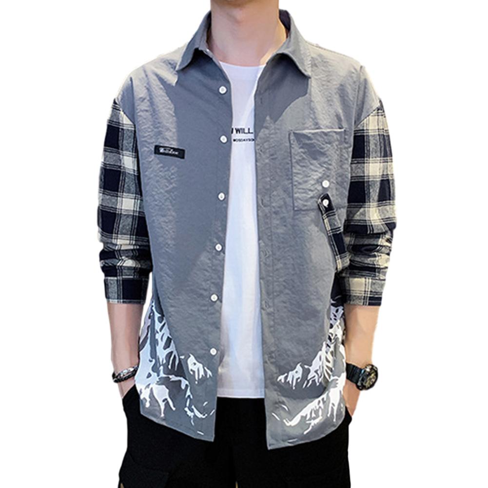 Men Plaid Printing Shirt Long Sleeve Autumn Teenagers Loose Blouse gray_L