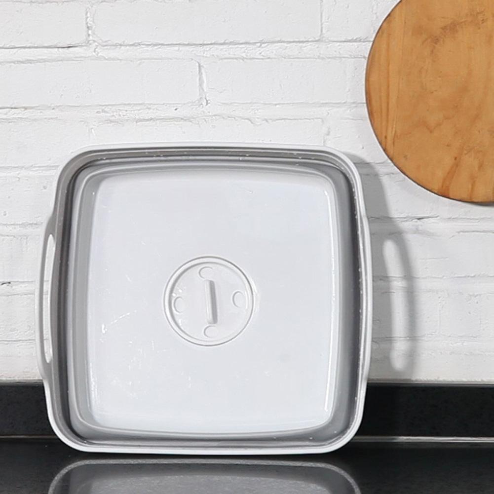 Foldable Sink Cutting Board Fruit Vegetable Wash Storage Basket with Drainage Hole Handle White + grey