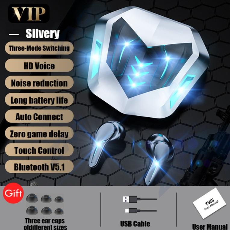 M188 Luminous Noise Reduction Gaming Bluetooth Headset Low Latency Sports Waterproof Wireless Earphones White