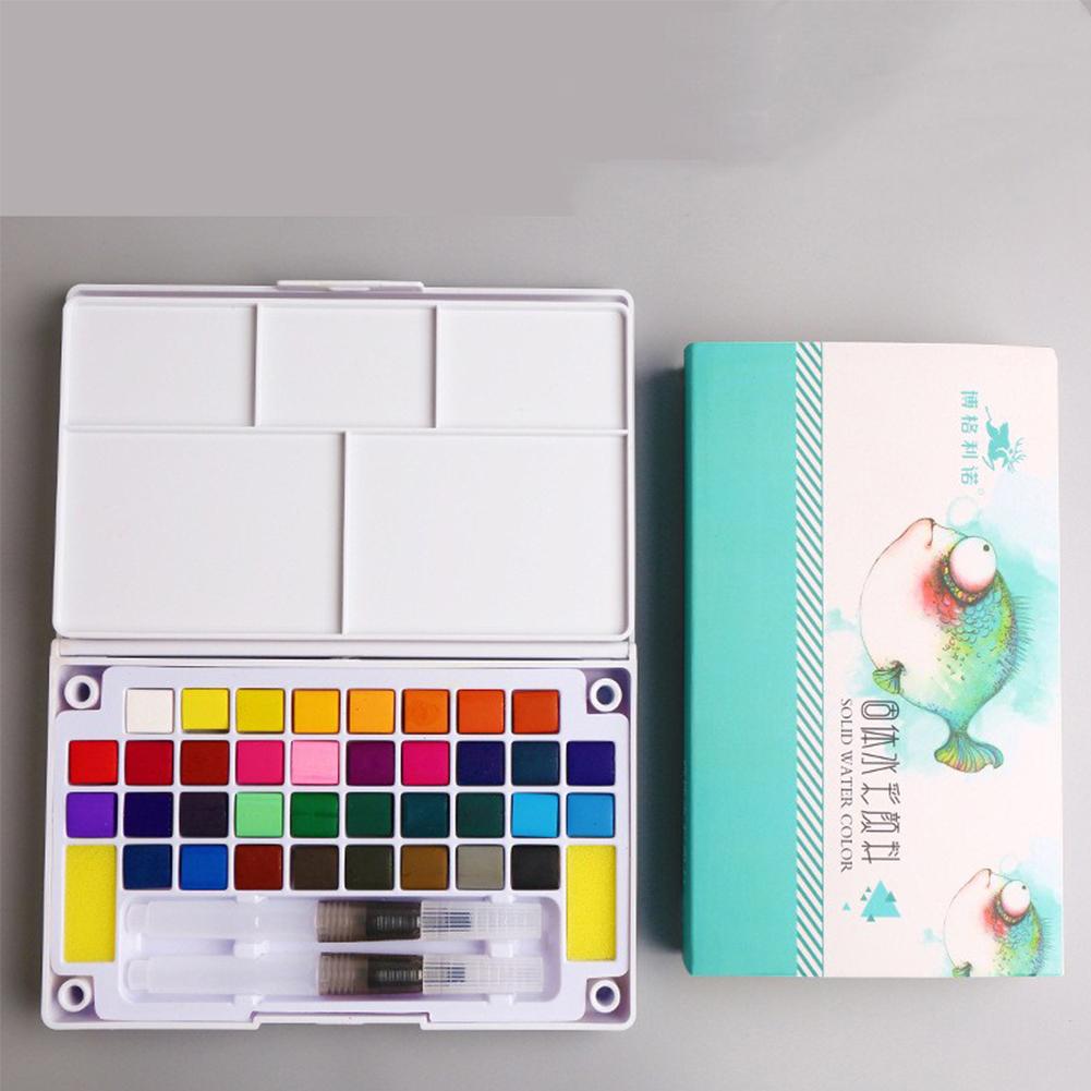 Solid Watercolor Paint Set with Watercolour Brush Bright Color Pigment Set Art Supplies 36 color