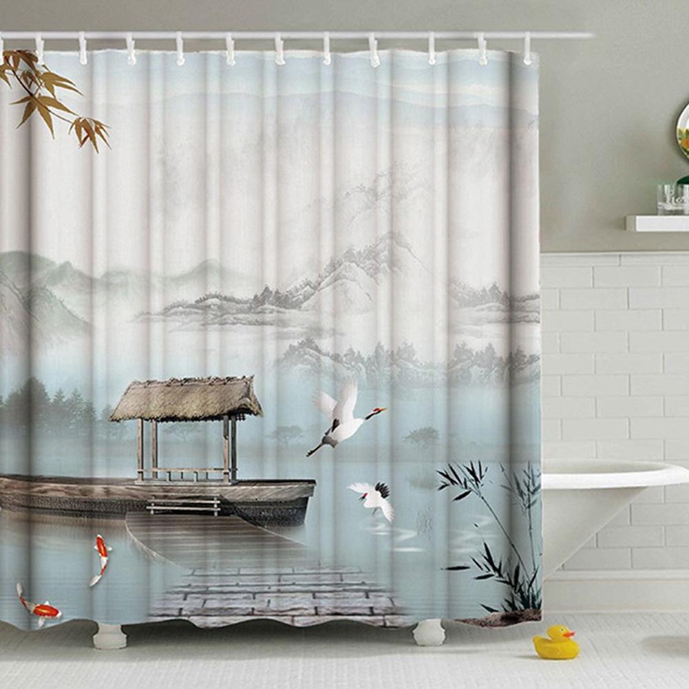 Mountain Printing Shower  Curtain Waterproof 3d Digital Printing Decor Bathroom Ink landscape painting_180*180cm