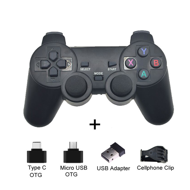2.4G Wireless Gamepad Joystick Remote Controller for PS3 Android Phone TV Box Laptops PC black