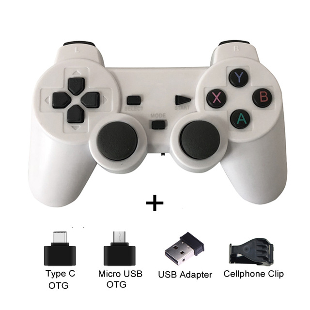 2.4G Wireless Gamepad Joystick Remote Controller for PS3 Android Phone TV Box Laptops PC white