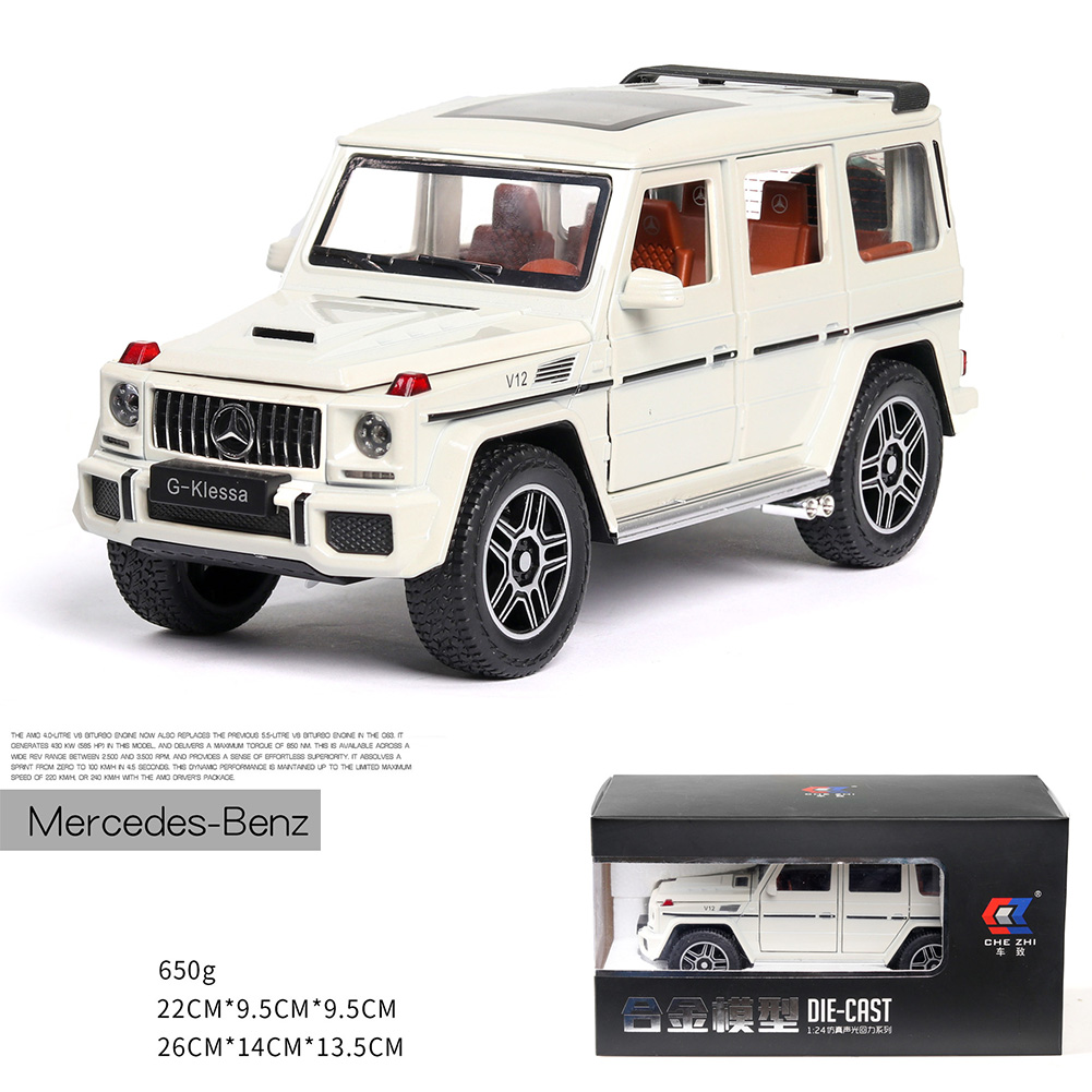 Simulate 1:24 G63 Alloy Doors Open Car Modeling Toy for Collection Decoration white