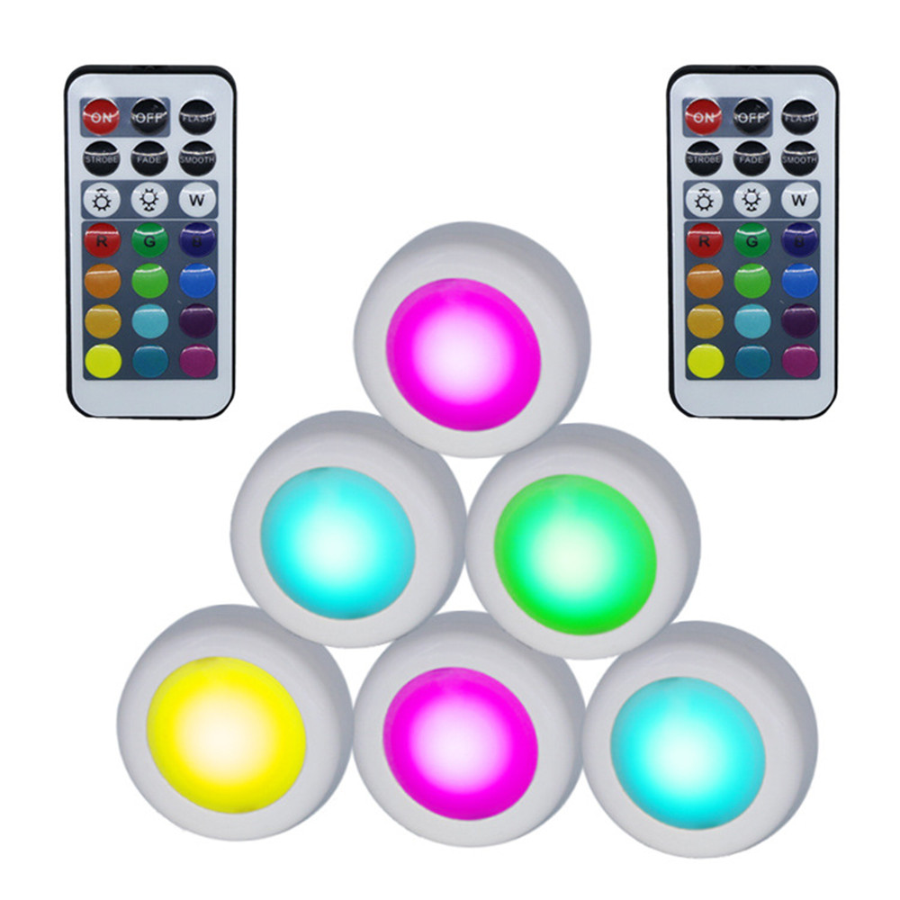 6Pcs LED Remote Control 12 Color Atmosphere Cabinet Lamp Home Decoration White shell