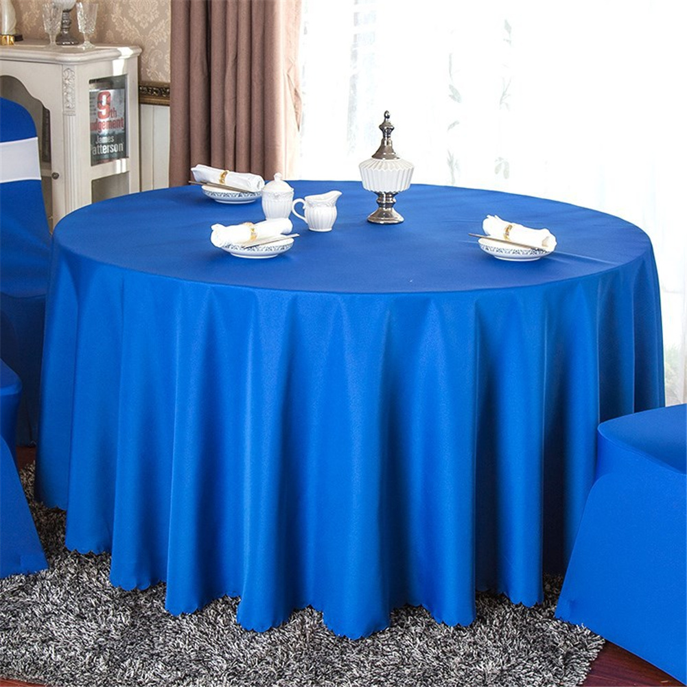 140cm Solid Table Cloth Round Satin Tablecloth Wedding Party Restaurant Home Table Cover  Dark blue_Round 140cm