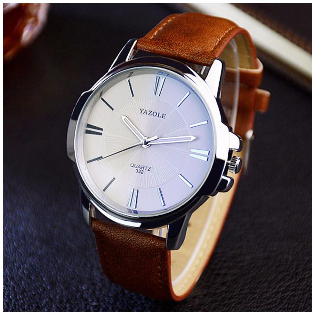 Men Large Dial Business Fashion Belt Quartz Watch Black Dial Watch