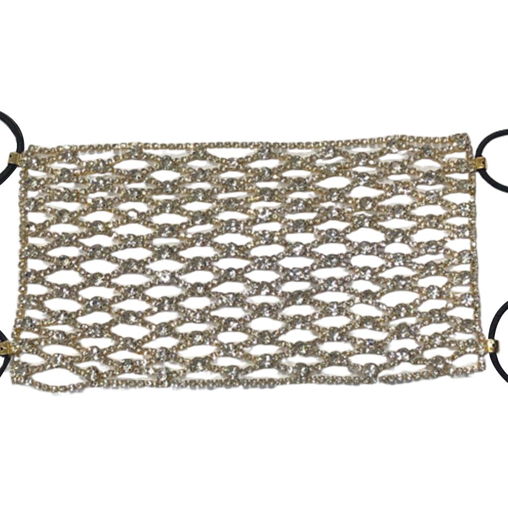 1 Ins Women's Fashion Personality Fishnet-Shaped Flash Diamond Rhinestone Mask Accessories Golden