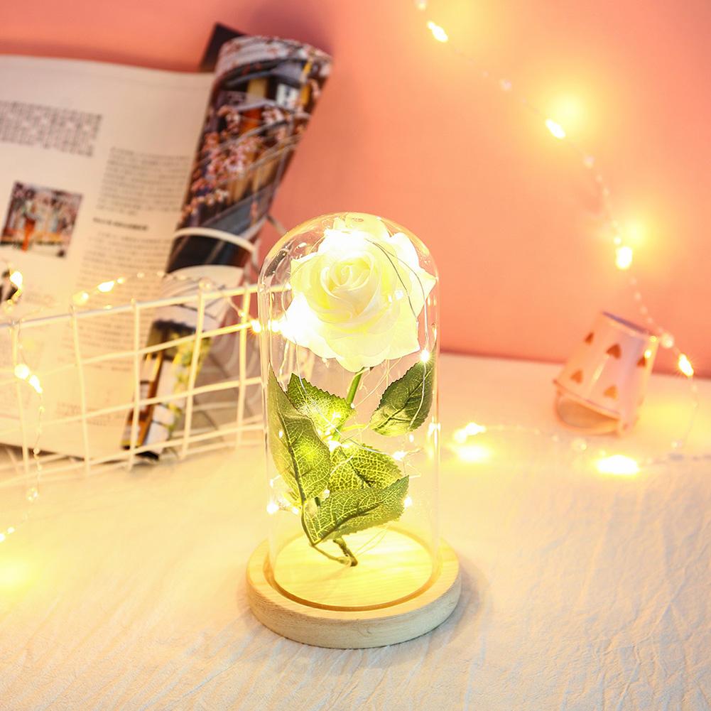 Glass Cover Rose Flowers LED Light String Gift Women Girls on Birthday Holiday Christmas Powered by Batteries white