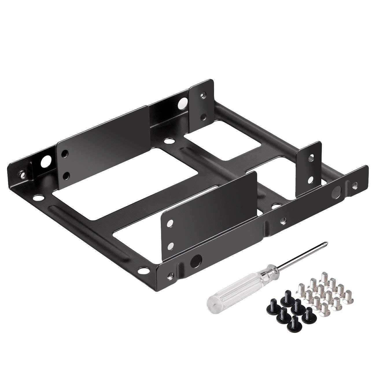 2.5 Inch to 3.5 Inch External HDD SSD Metal Mounting Kit Adapter Bracket with SATA Data Power Cables & Screws Without line