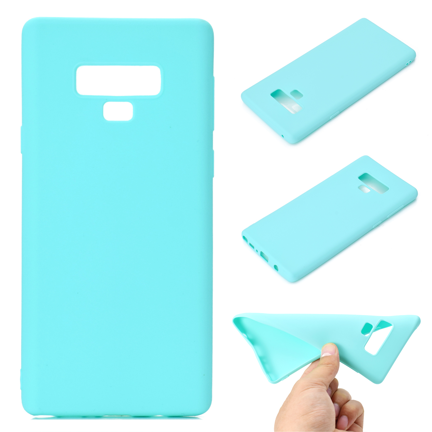 for Samsung NOTE 9 Cute Candy Color Matte TPU Anti-scratch Non-slip Protective Cover Back Case Light blue