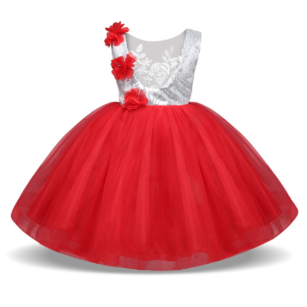 Baby Girls Paillette Bubble Dress for Performance Party Wear