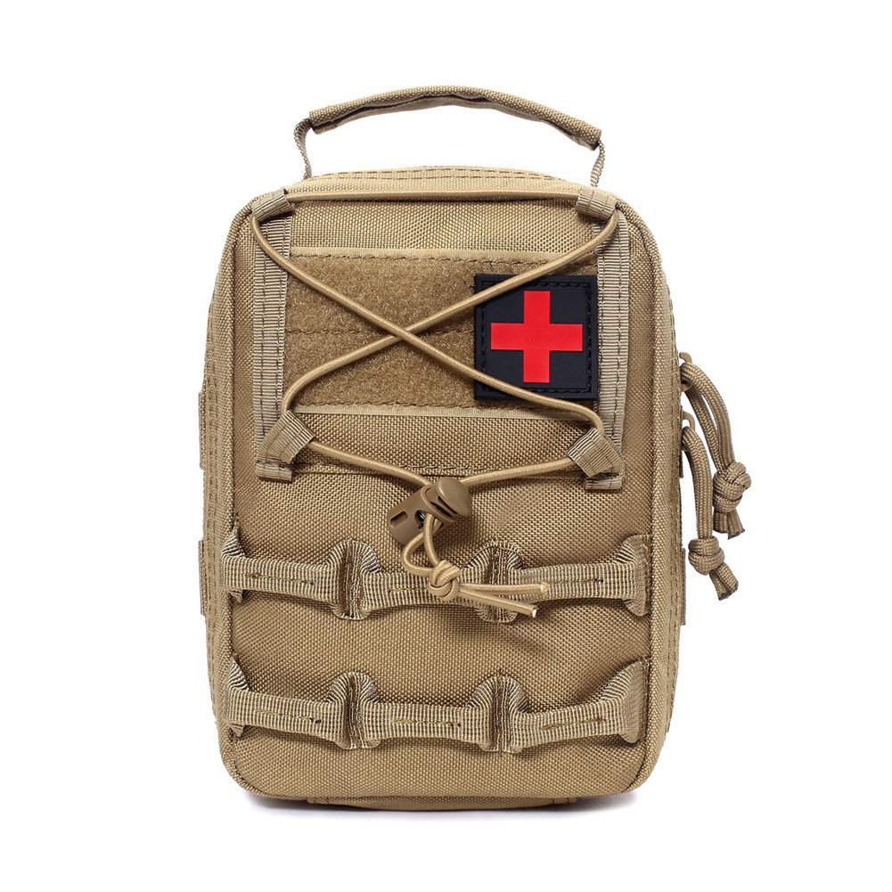 First Aid Bag Camping Pouch EMT Emergency Survival Kit Outdoor Multi-function Large Size Package Khaki