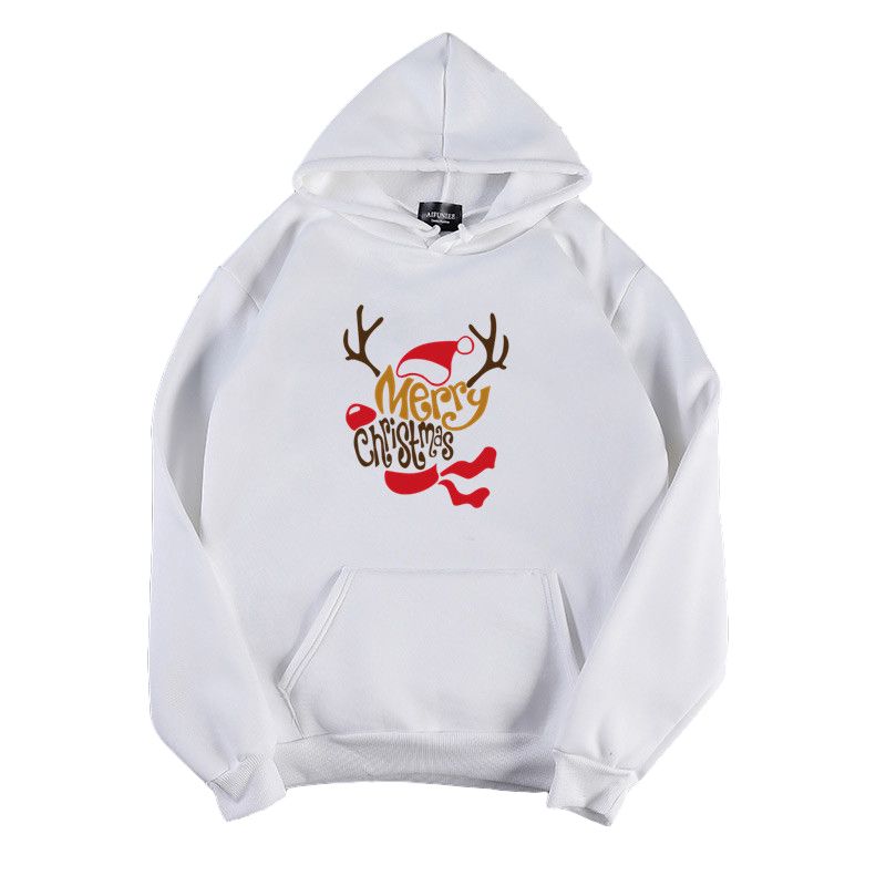 Women's Hoodies Autumn and Winter Printing Long-sleeves Hooded Sweater white_XL