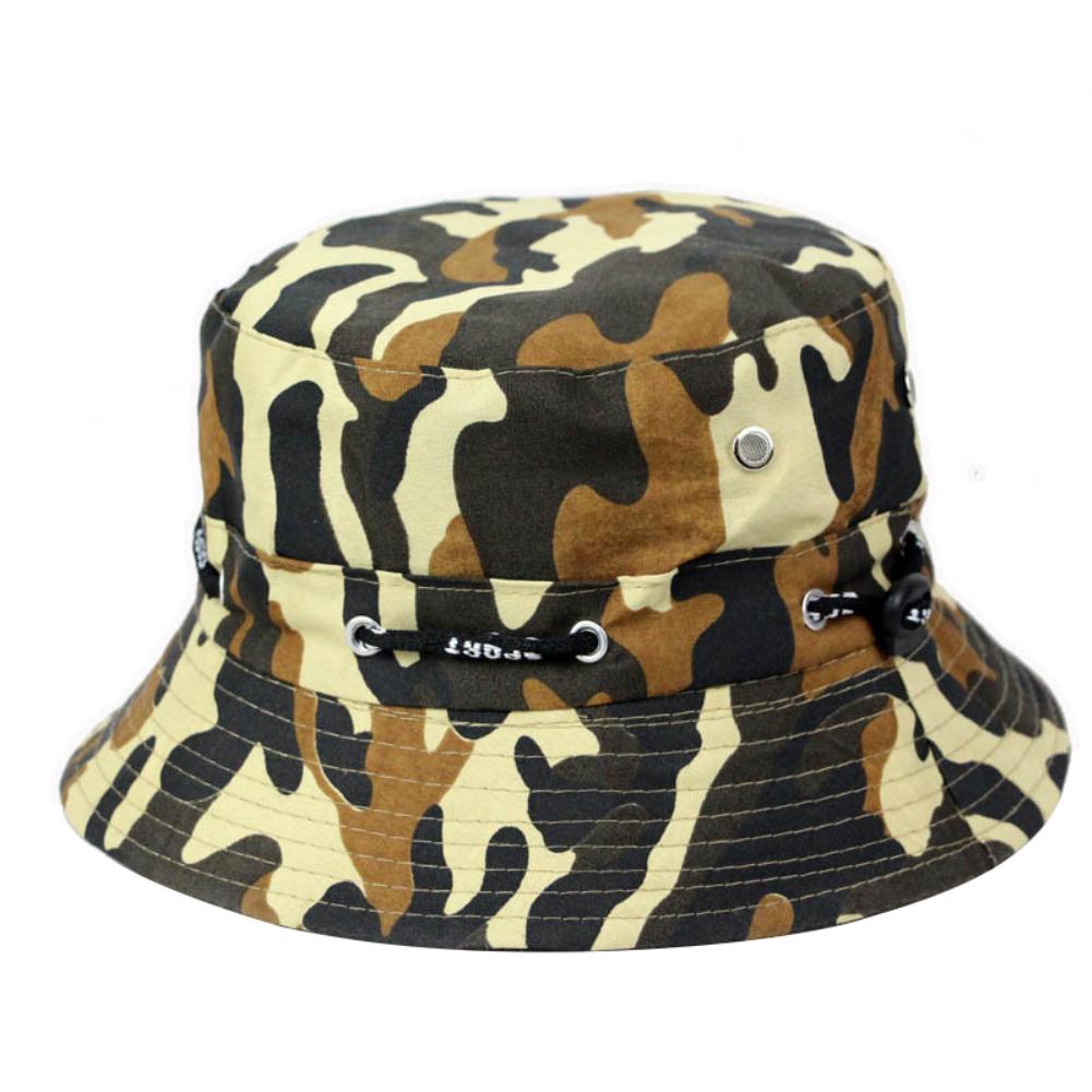 Bucket Hats Men Outdoor Fisherman Hat Cotton Fishing Cap Camouflage Bucket Caps dark green_adjustable