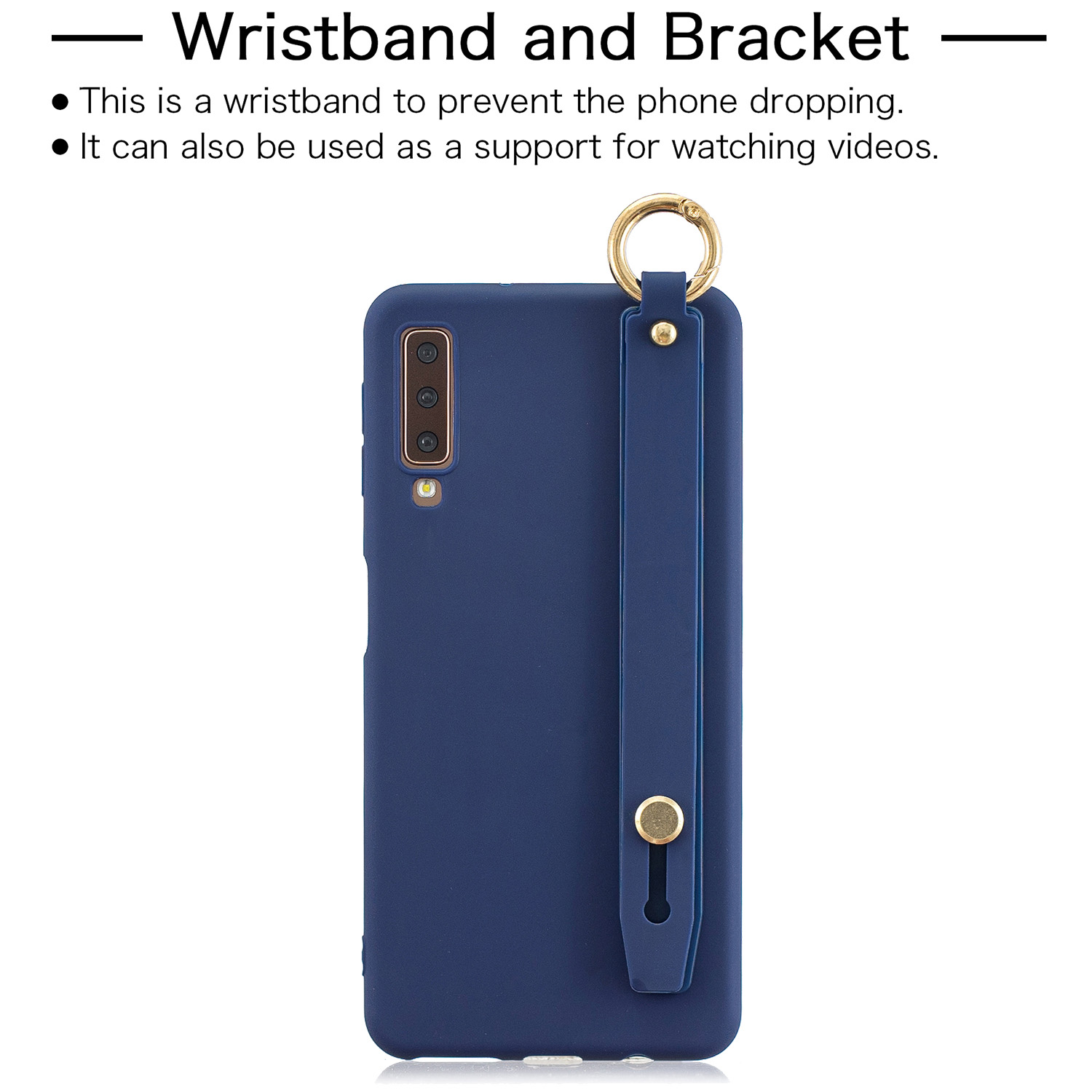 For Samsung A7 2018 Simple Solid Color Chic Wrist Rope Bracket Matte TPU Anti-scratch Non-slip Protective Cover Back Case 7 royal blue