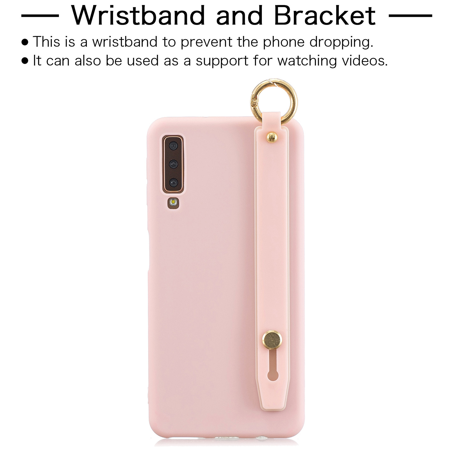 For Samsung A7 2018 Simple Solid Color Chic Wrist Rope Bracket Matte TPU Anti-scratch Non-slip Protective Cover Back Case 6 light pink