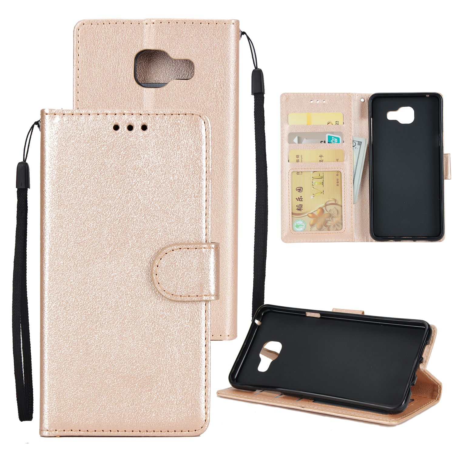For Samsung A7 2017/A720 PU Leather Cell Phone Case Protective Cover Shell with Buckle Golden