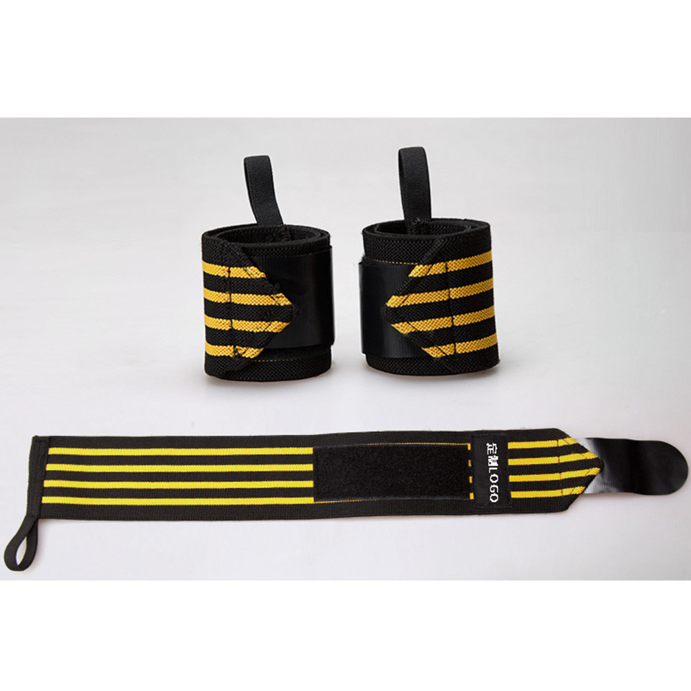 1pcs Wrist Straps Support Gym Weight Lifting Gloves Bar Grip Barbell Wraps Hand Protection Black & Yellow