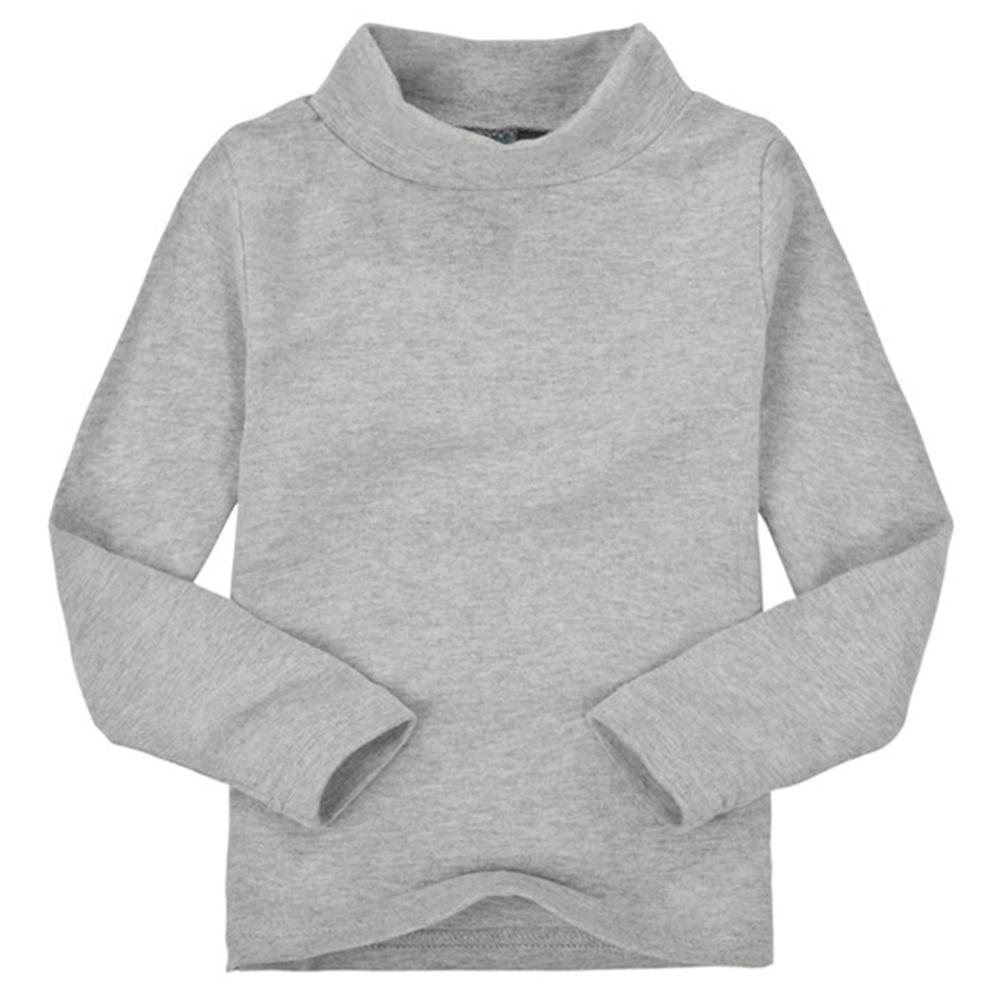 Children Unisex High Collar Bottoming Shirt Long Sleeve Candy Color Cotton T-shirt