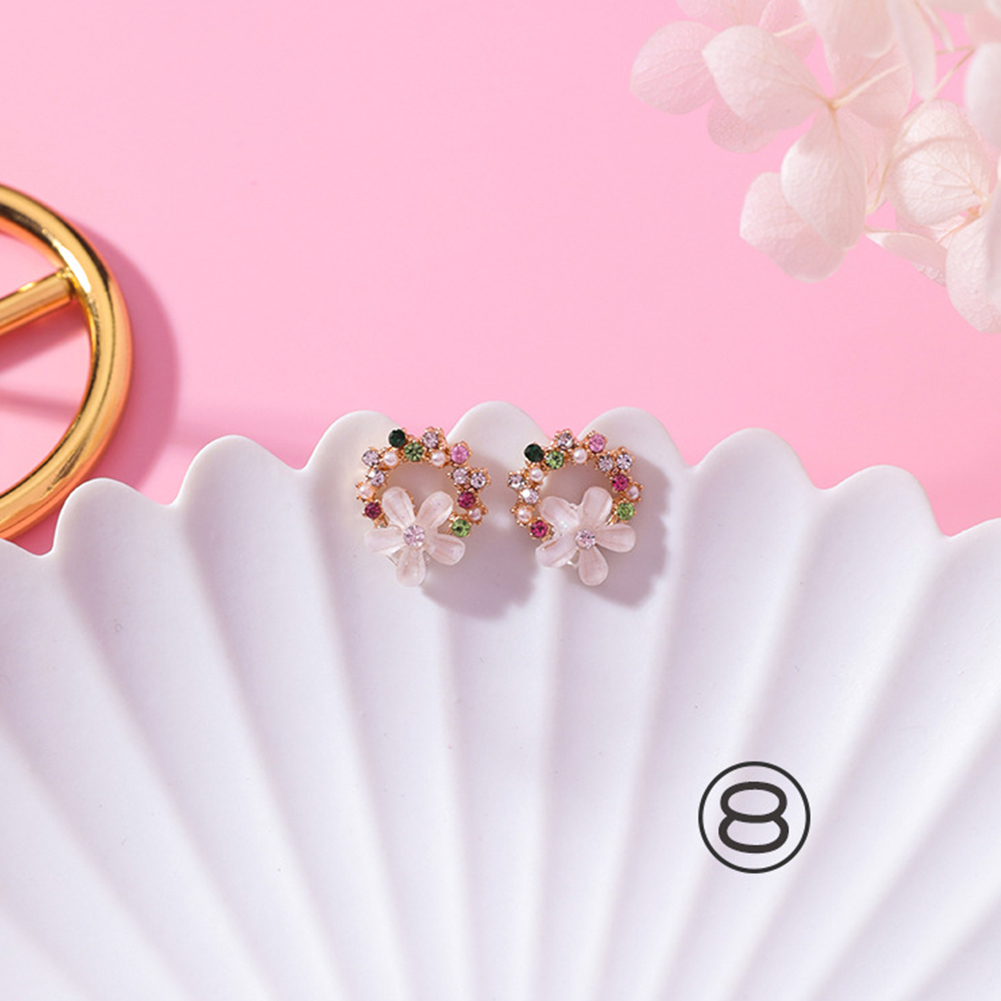 Simple Girl Sweet Style Coloured Wreath Circle Earrings