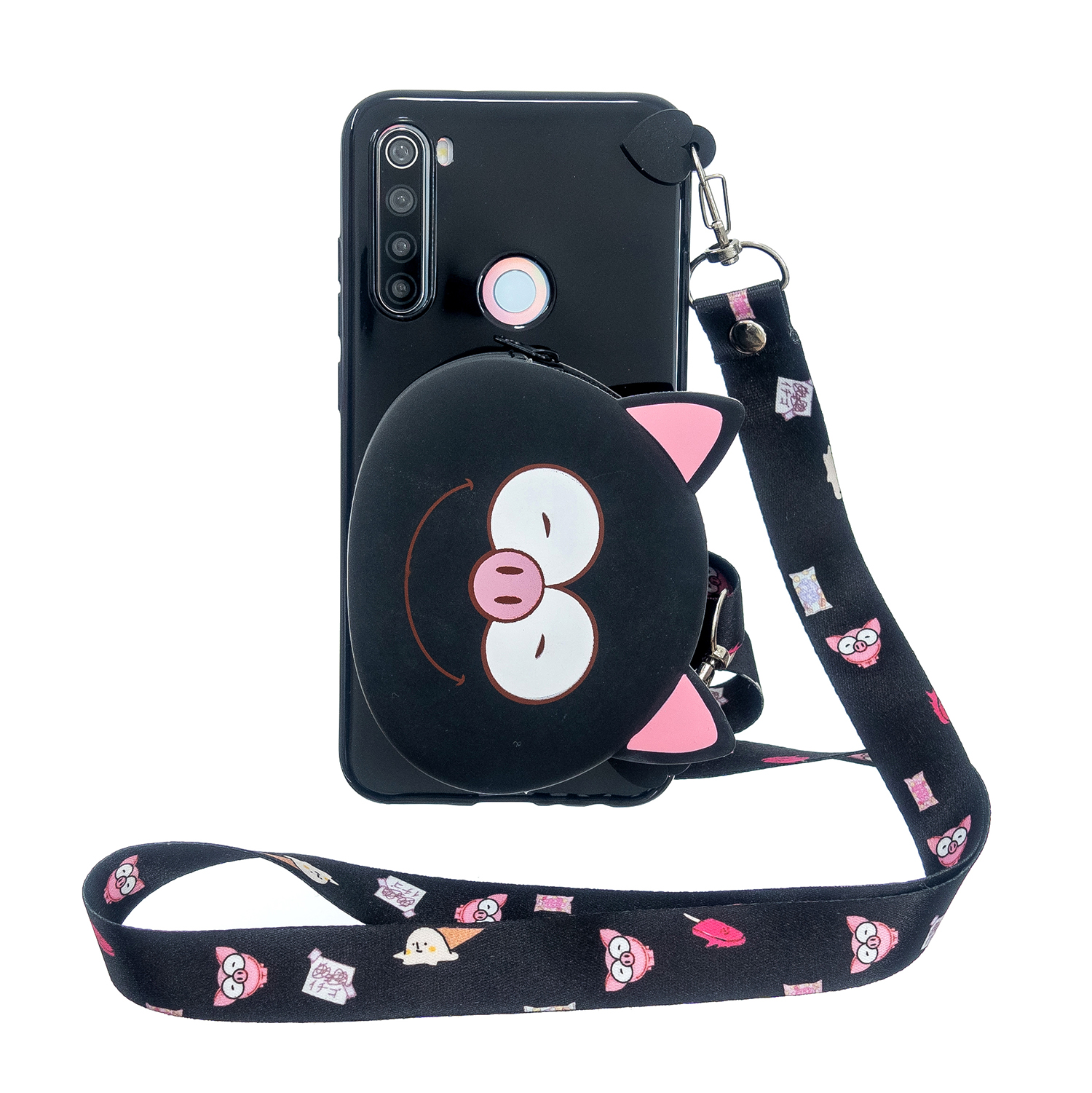 For Redmi Note 8/8T/8 Pro Cellphone Case Mobile Phone Shell Shockproof TPU Cover with Cartoon Cat Pig Panda Coin Purse Lovely Shoulder Starp  Black