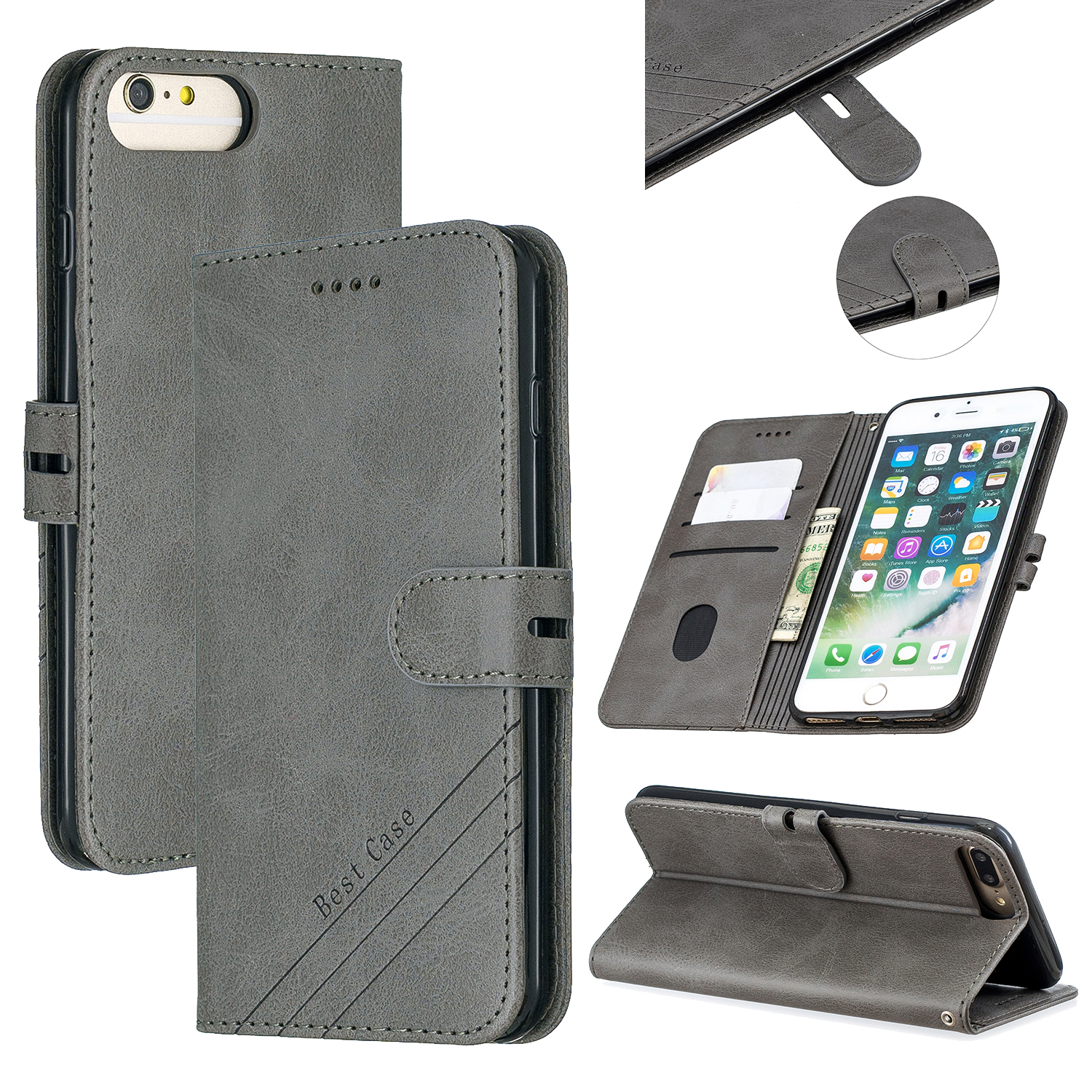 For iPhone 6 plus / 6S plus / 7 plus / 8 plus Denim Pattern Solid Color Flip Wallet PU Leather Protective Phone Case with Buckle & Bracket gray