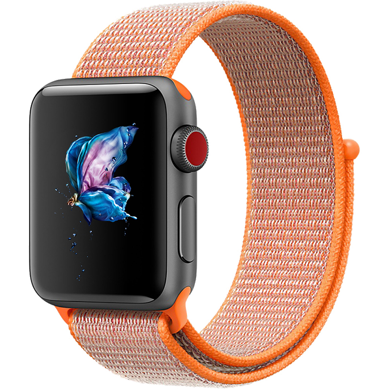 Replacement Sport Nylon Woven Band for Apple Watch Series 4 40mm/44mm Orange red_44mm