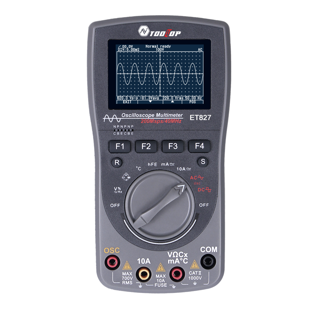 2 In 1 Intelligent Digital Storage Oscilloscope One Key Auto Oscilloscop Tester Multimeter 40mhz 200msps/s 6000counts True Rms gray