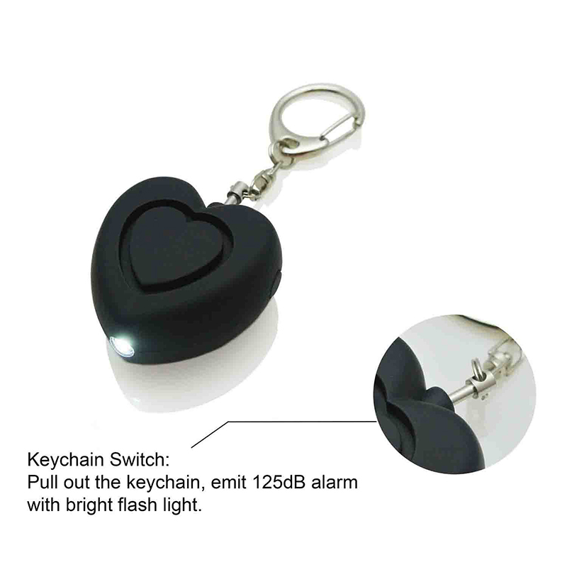 Personal Anti-attack Security Panic Loud Alarm Emergency Keychain Self Defense Heart Shape Women Alarm black