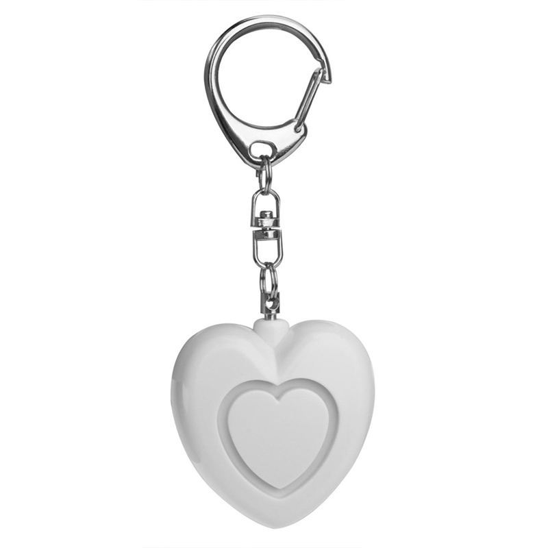 Personal Anti-attack Security Panic Loud Alarm Emergency Keychain Self Defense Heart Shape Women Alarm white