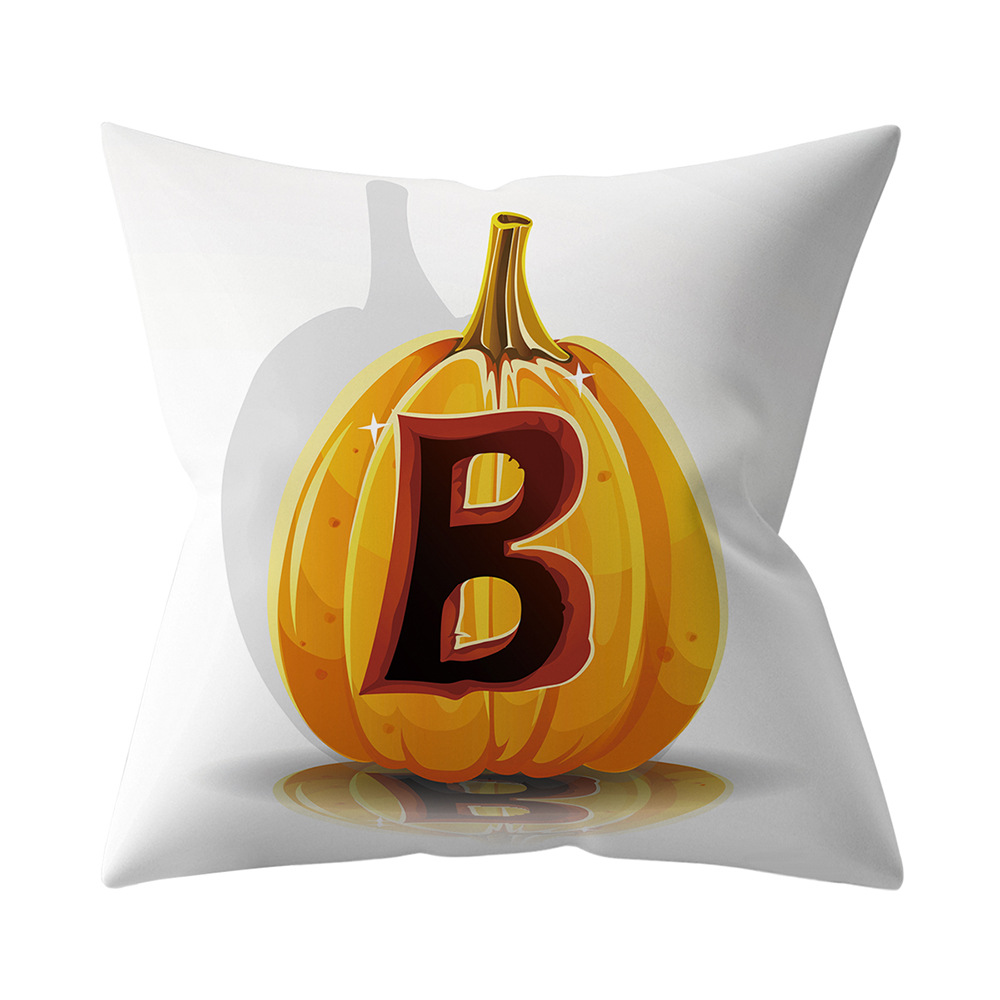 Halloween Series Letter Printing Throw Pillow Cover for Home Living Room Sofa Decor B_45*45cm