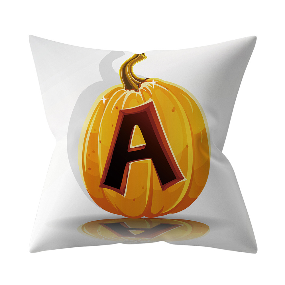 Halloween Series Letter Printing Throw Pillow Cover for Home Living Room Sofa Decor A_45*45cm
