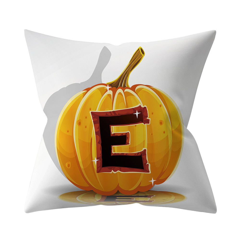 Halloween Series Letter Printing Throw Pillow Cover for Home Living Room Sofa Decor E_45*45cm