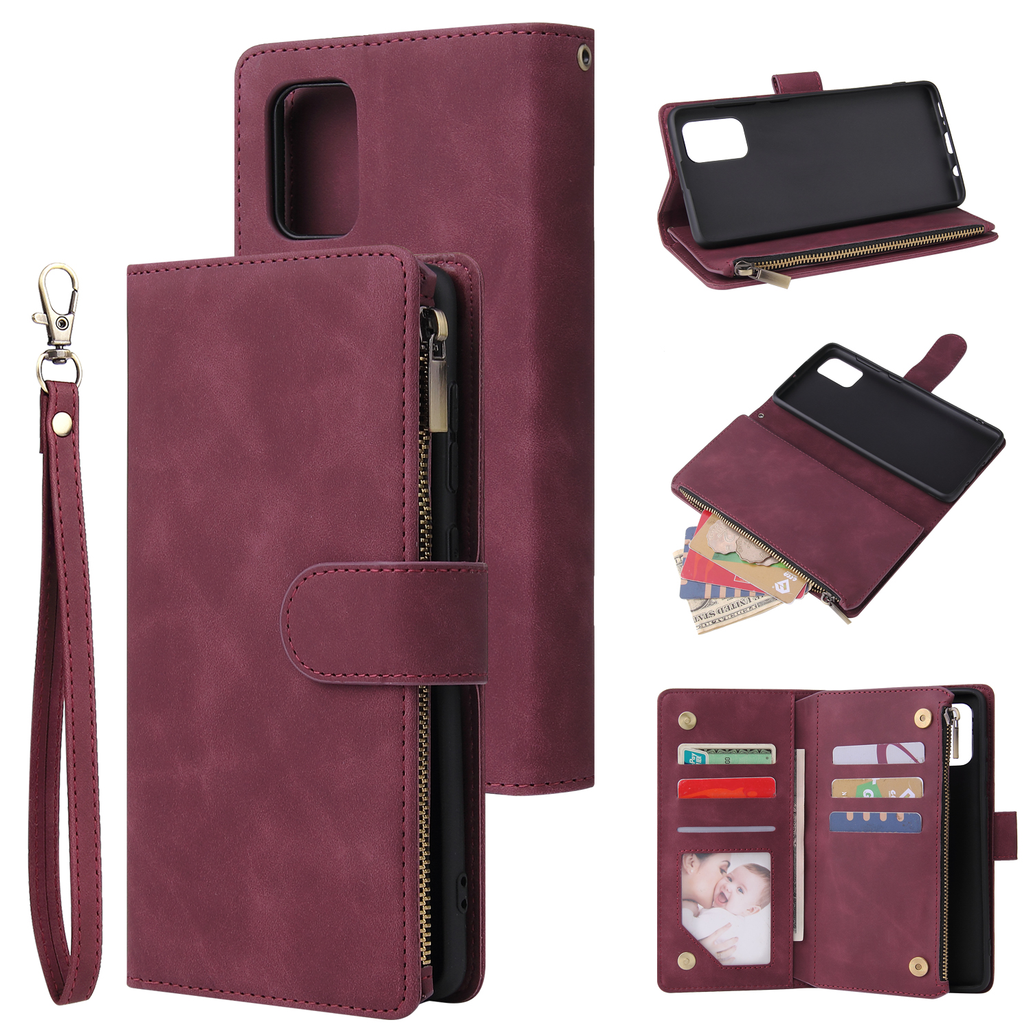 For Samsung A71 Case Smartphone Shell Precise Cutouts Zipper Closure Wallet Design Overall Protection Phone Cover  Wine red