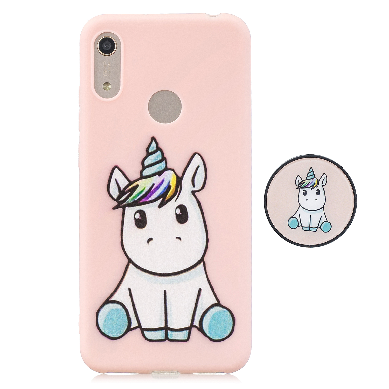 For HUAWEI Y6 2019 Flexible Stand Holder Case Soft TPU Full Cover Case Phone Cover Cute Phone Case 6