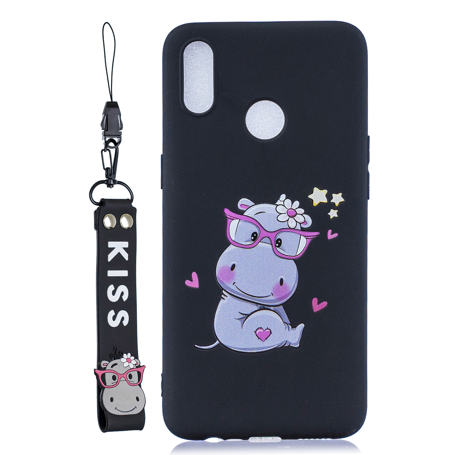 For OPPO Realme 3 Cartoon Lovely Coloured Painted Soft TPU Back Cover Non-slip Shockproof Full Protective Case with Lanyard black
