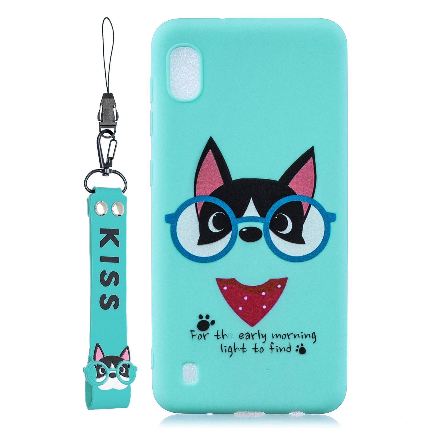 For Samsung A10 Cartoon Lovely Coloured Painted Soft TPU Back Cover Non-slip Shockproof Full Protective Case with Lanyard Light blue