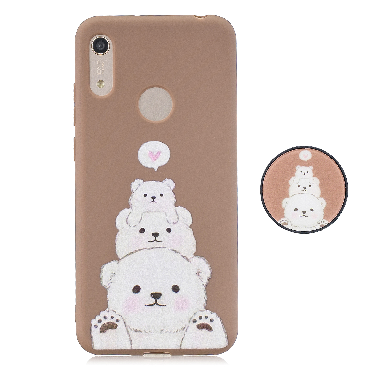 For HUAWEI Y6 2019 Flexible Stand Holder Case Soft TPU Full Cover Case Phone Cover Cute Phone Case 3
