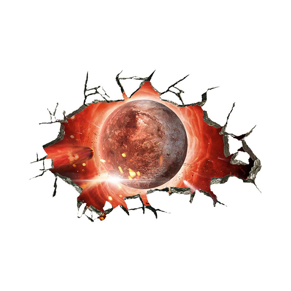 Waterproof 3D Universe Planet Scenery Broken Wall Sticker Room Decoration Bird Star