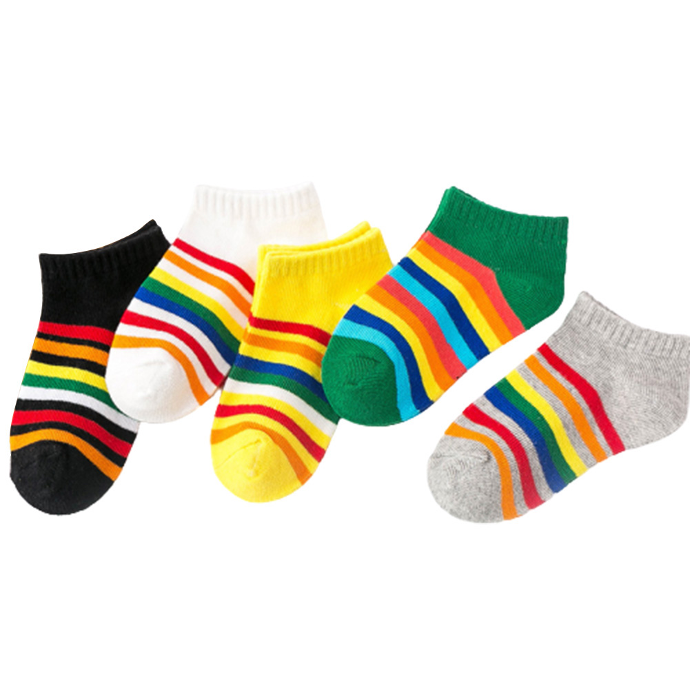 5 Pairs of Children's Socks Spring and Autumn Cotton Striped Socks for 3-12 Years Old Kids A set of 5 colors_L
